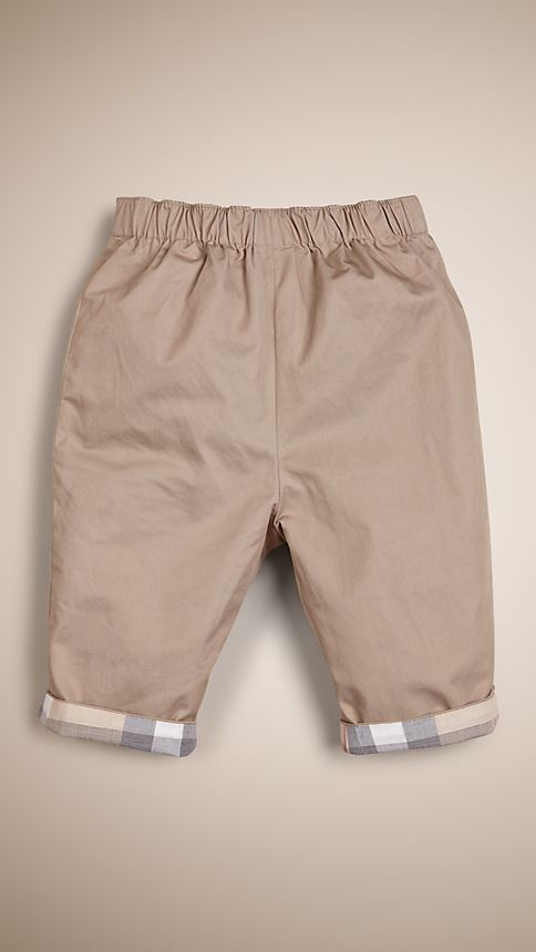 Taupe Check Turn-Up Cotton Trousers - Image 1