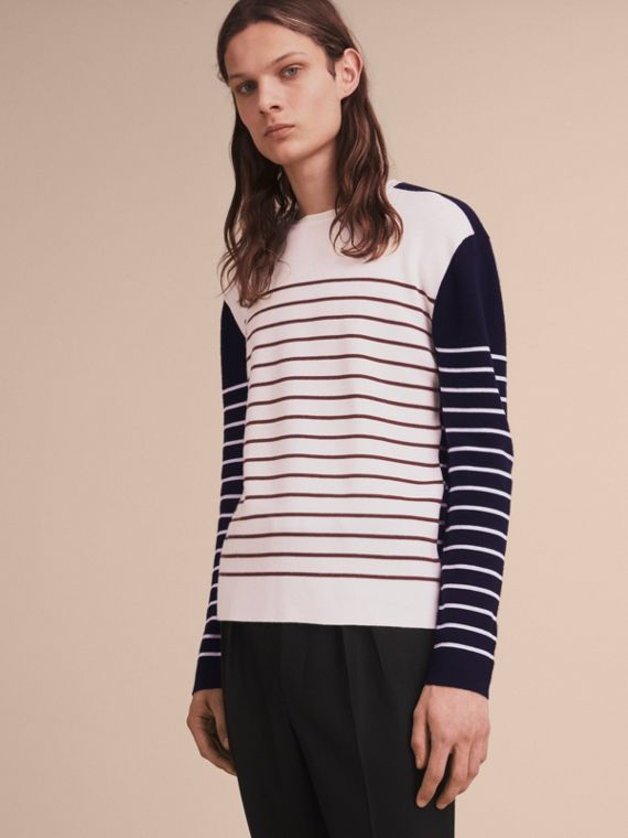 Contrast Stripe Cashmere Blend Sweater - Men | Burberry Canada