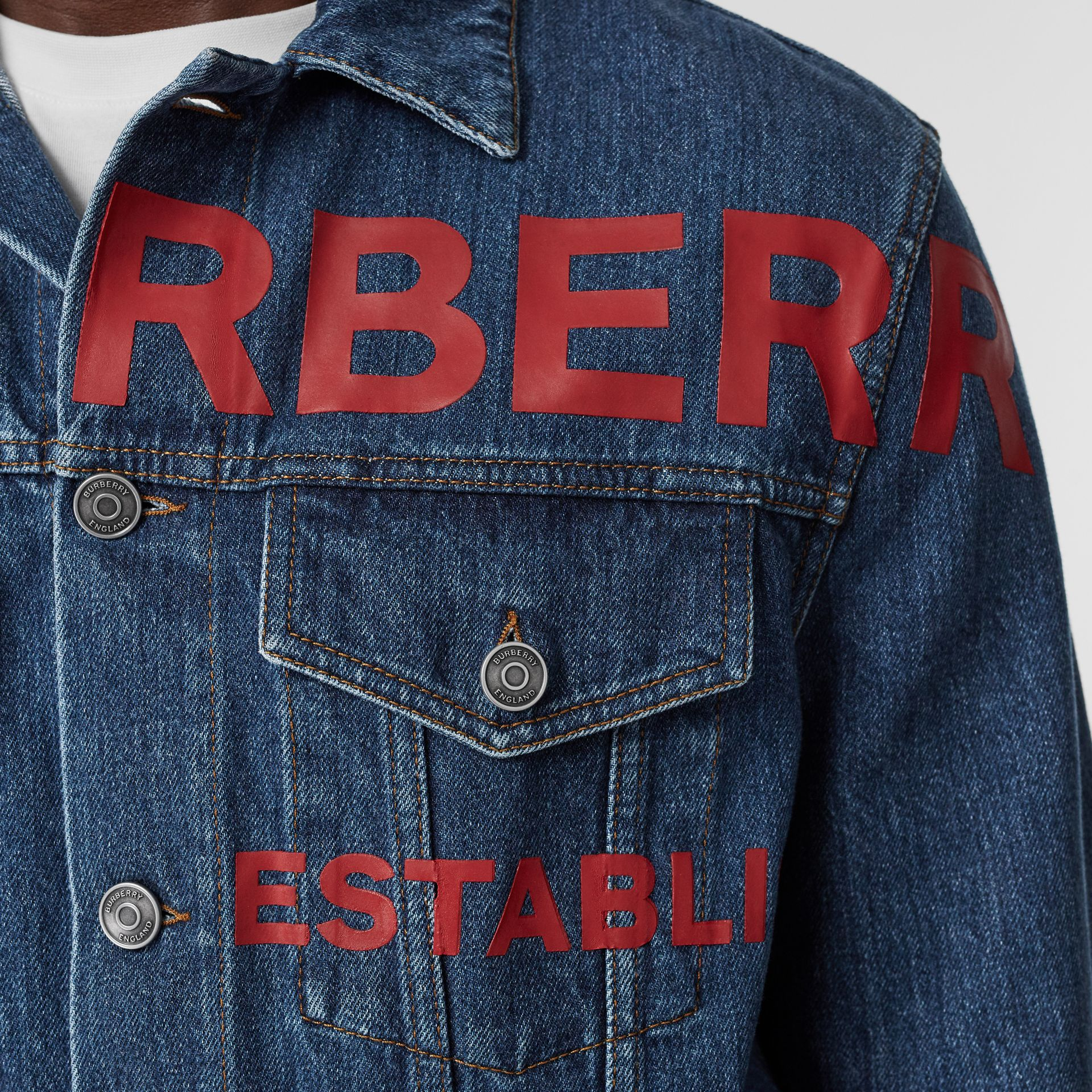 Horseferry Print Japanese Denim Jacket in Mid Indigo Blue - Men | Burberry Australia - gallery image 1