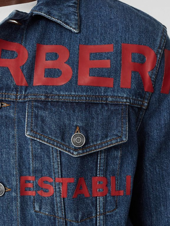 Horseferry Print Japanese Denim Jacket in Mid Indigo Blue - Men | Burberry - cell image 1