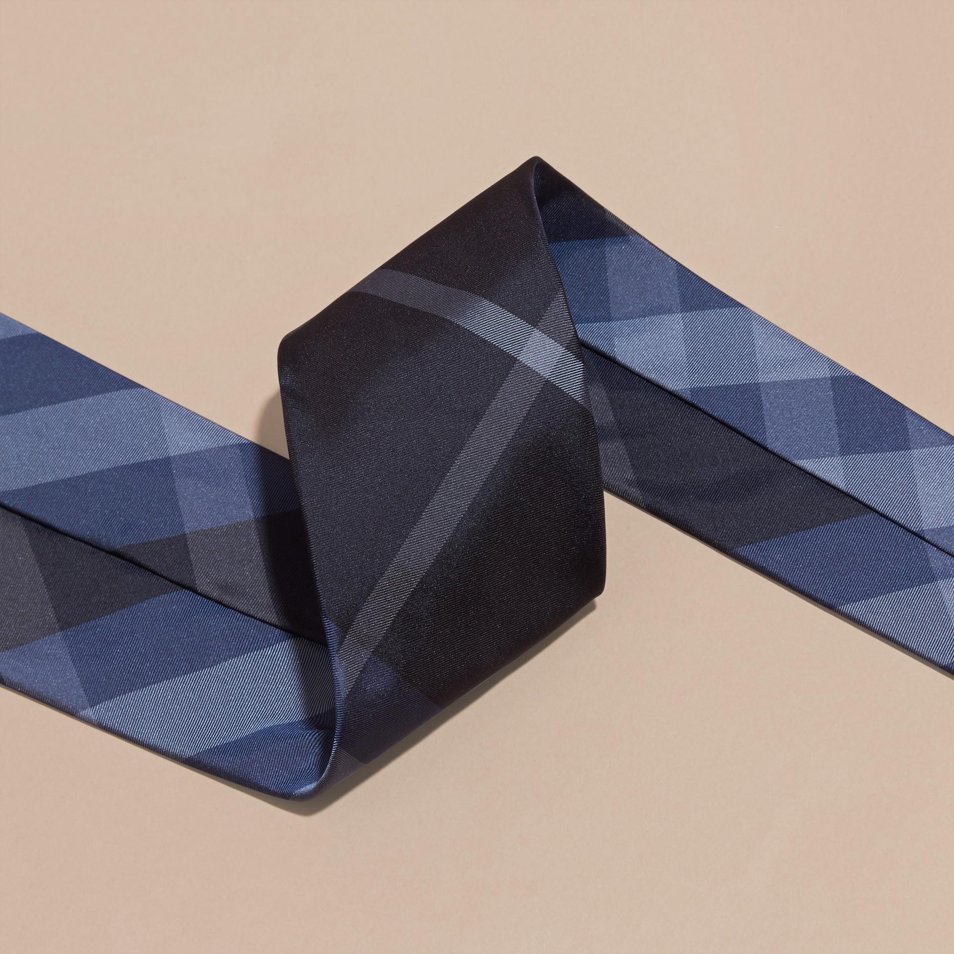 Hydrangea blue Classic Cut Check Silk Tie Hydrangea Blue - gallery image 2