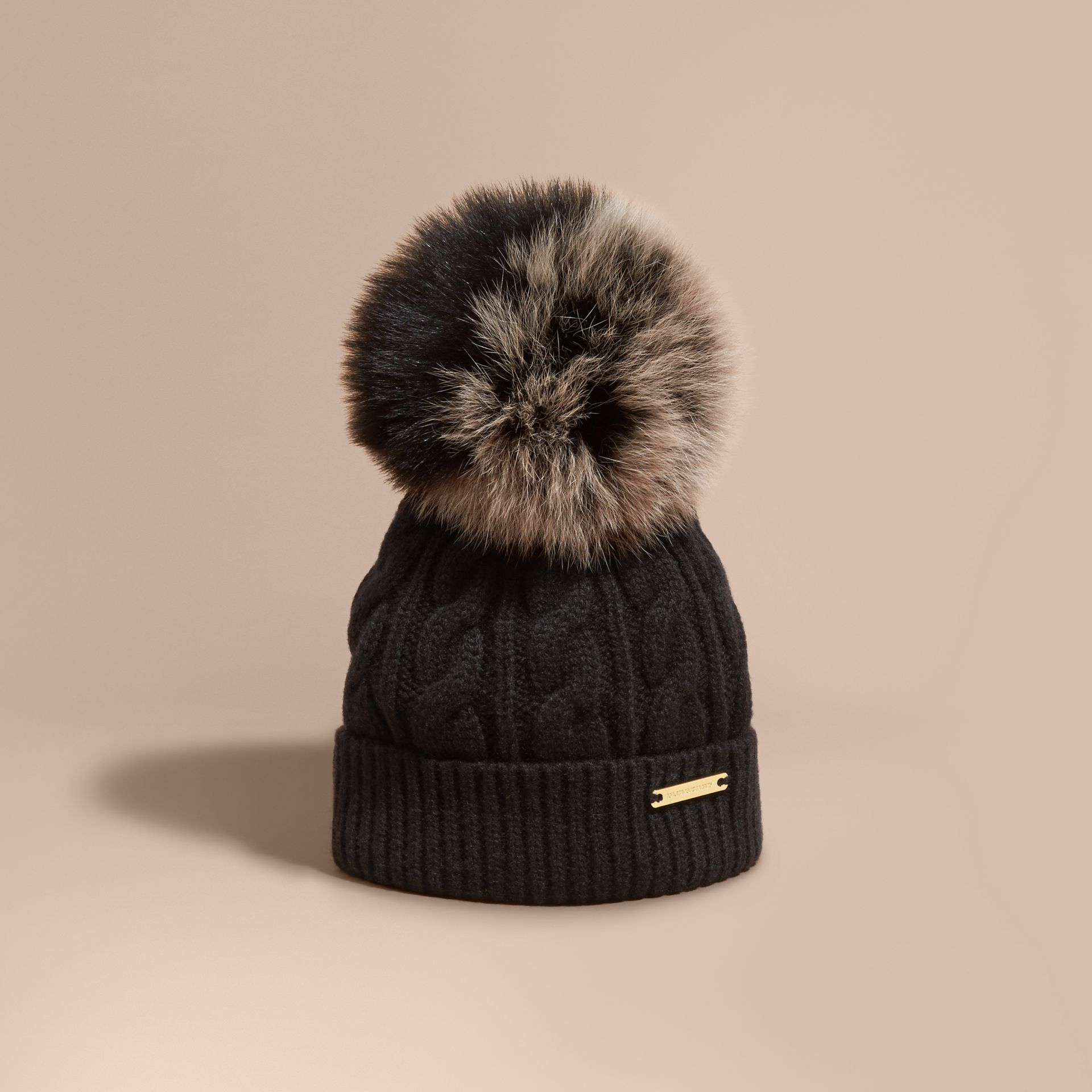 Black Wool Cashmere Beanie with Fur Pom-Pom Black - gallery image 1