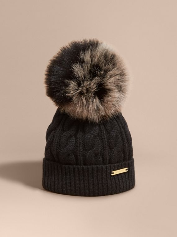 Wool Cashmere Beanie with Fur Pom-Pom Black