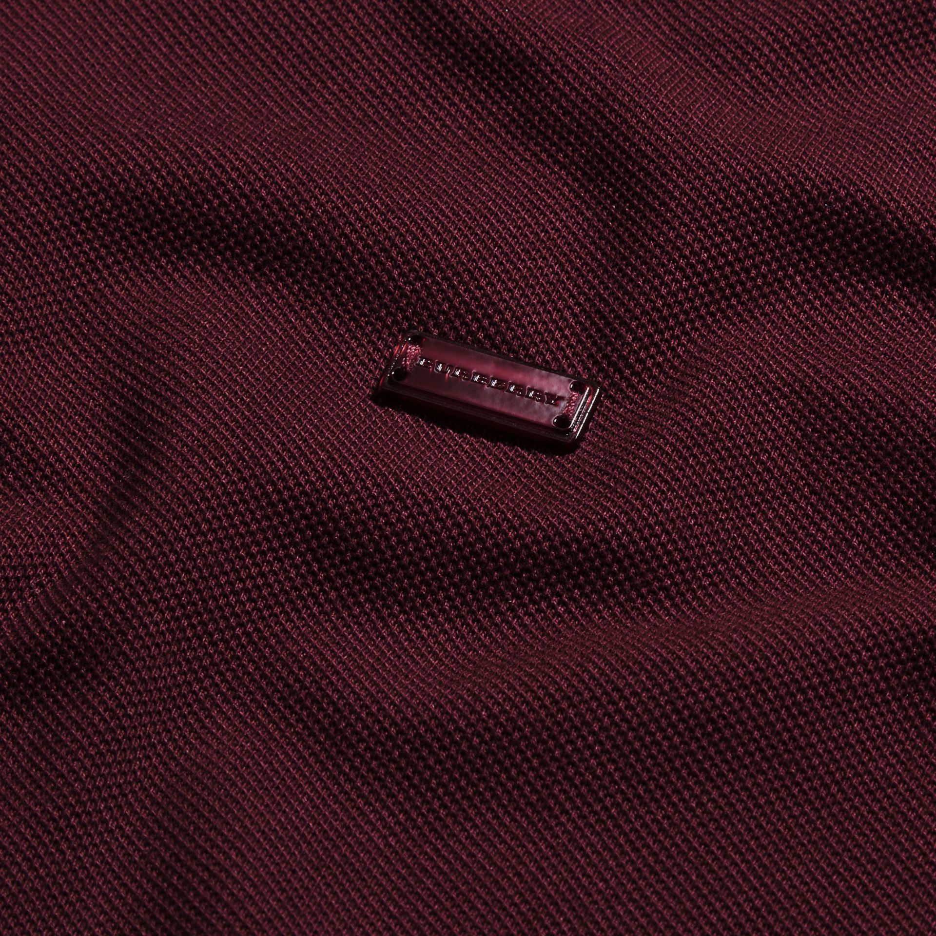 Burgundy red/black Contrast Trim Cotton Piqué Polo Shirt Burgundy Red/black - gallery image 2