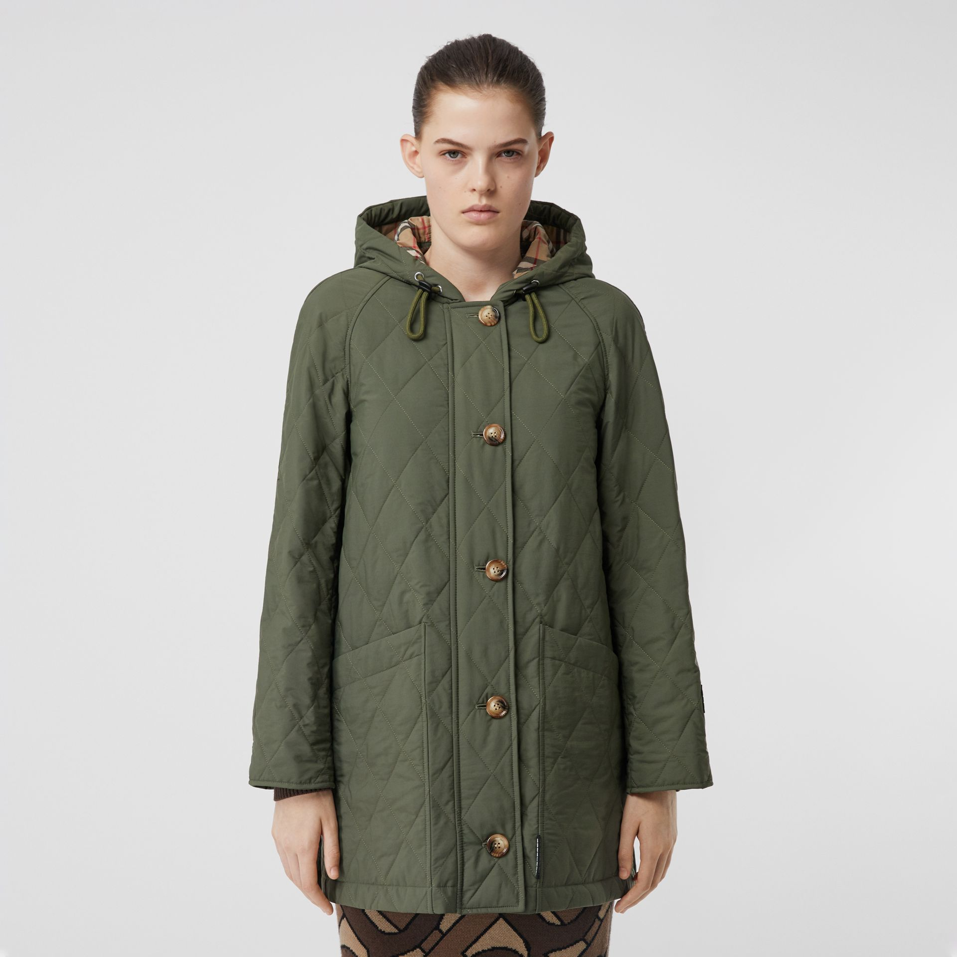 Diamond Quilted Thermoregulated Hooded Coat in Poplar Green - Women | Burberry - gallery image 6