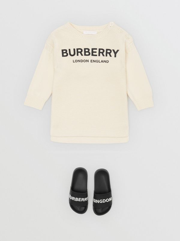 Logo Print Rib Knit Merino Wool Sweater Dress in Ivory - Children | Burberry - cell image 2