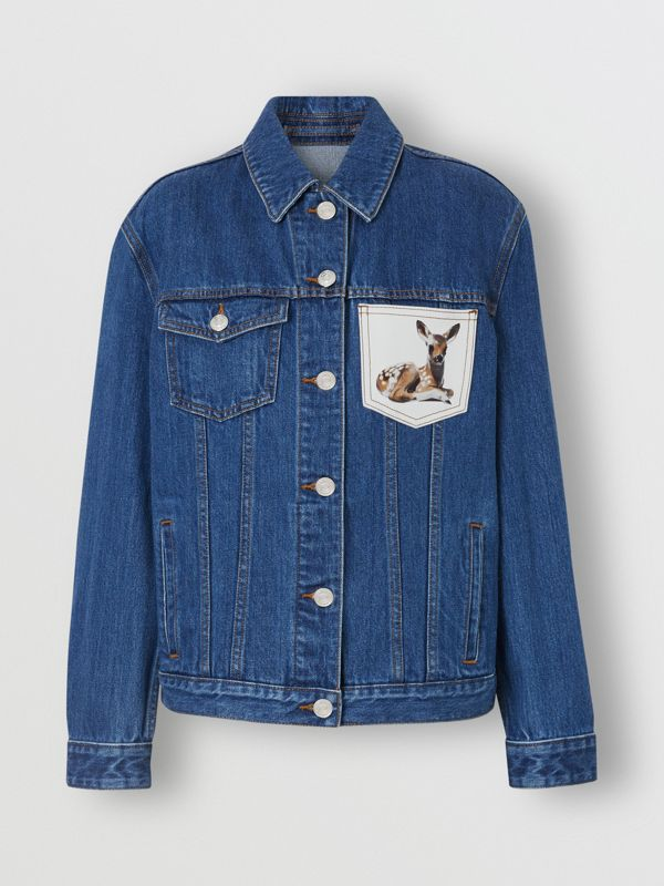 Deer Motif Japanese Denim Jacket in Mid Blue - Women | Burberry - cell image 3