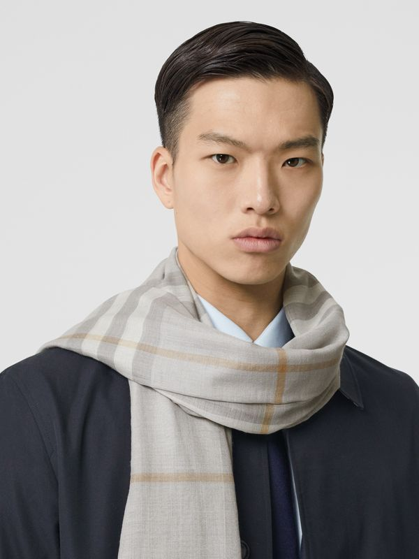 Lightweight Check Wool Silk Scarf in Light Grey | Burberry - cell image 3