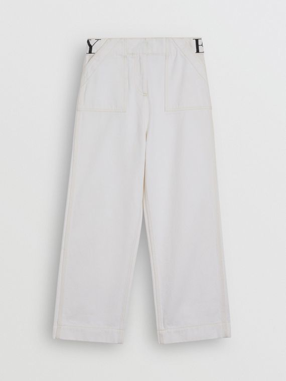 Relaxed Fit Logo Print Jeans in Natural White