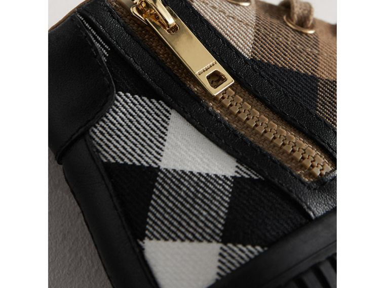House Check and Leather High-top Trainers in Classic/black | Burberry - cell image 1