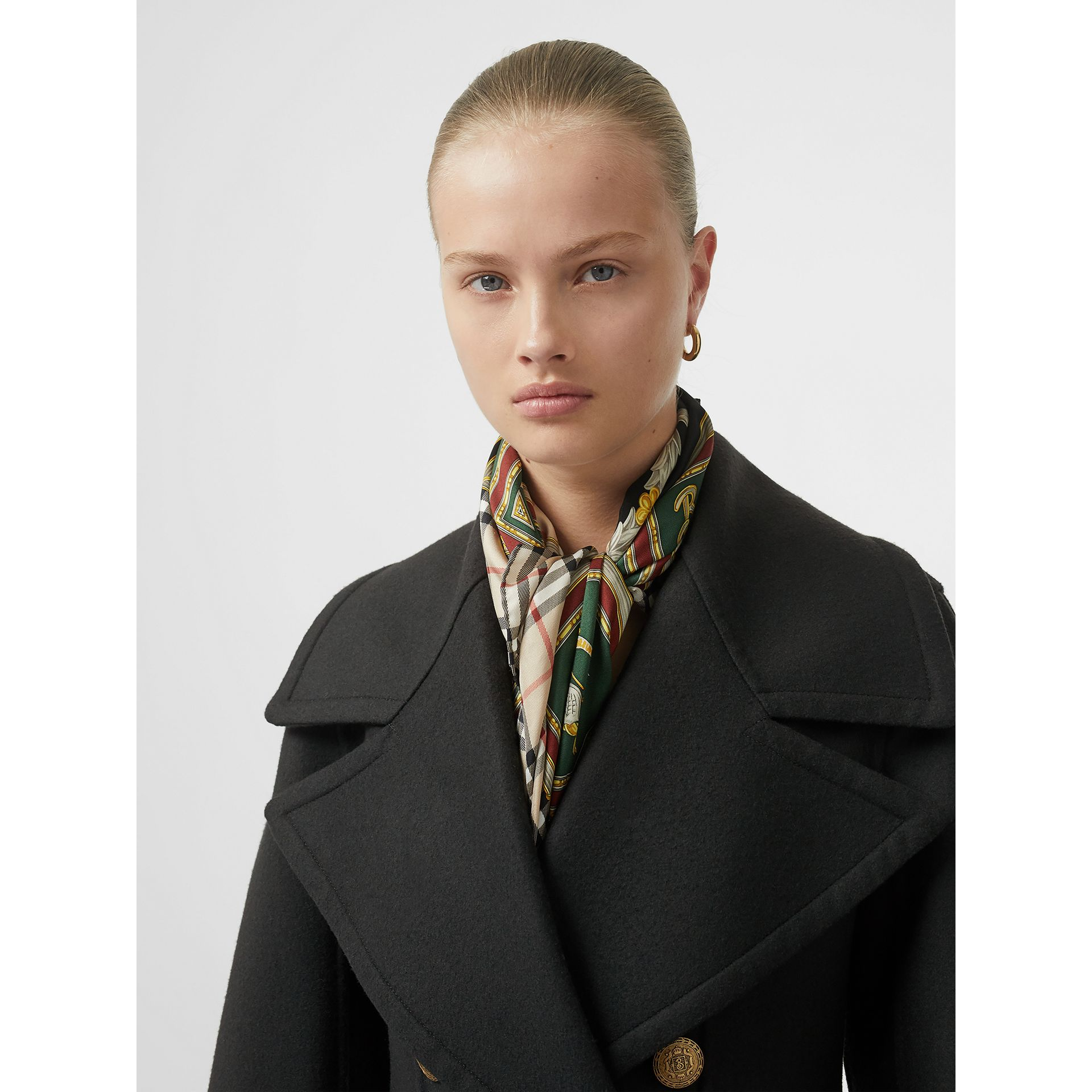 Doeskin Wool Tailored Coat in Dark Forest Green - Women | Burberry United Kingdom - gallery image 1