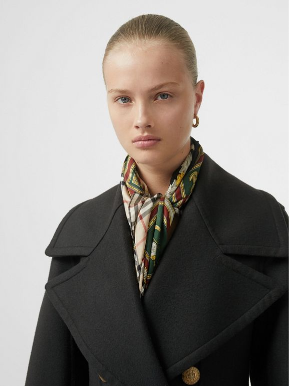 Doeskin Wool Tailored Coat in Dark Forest Green - Women | Burberry United Kingdom - cell image 1