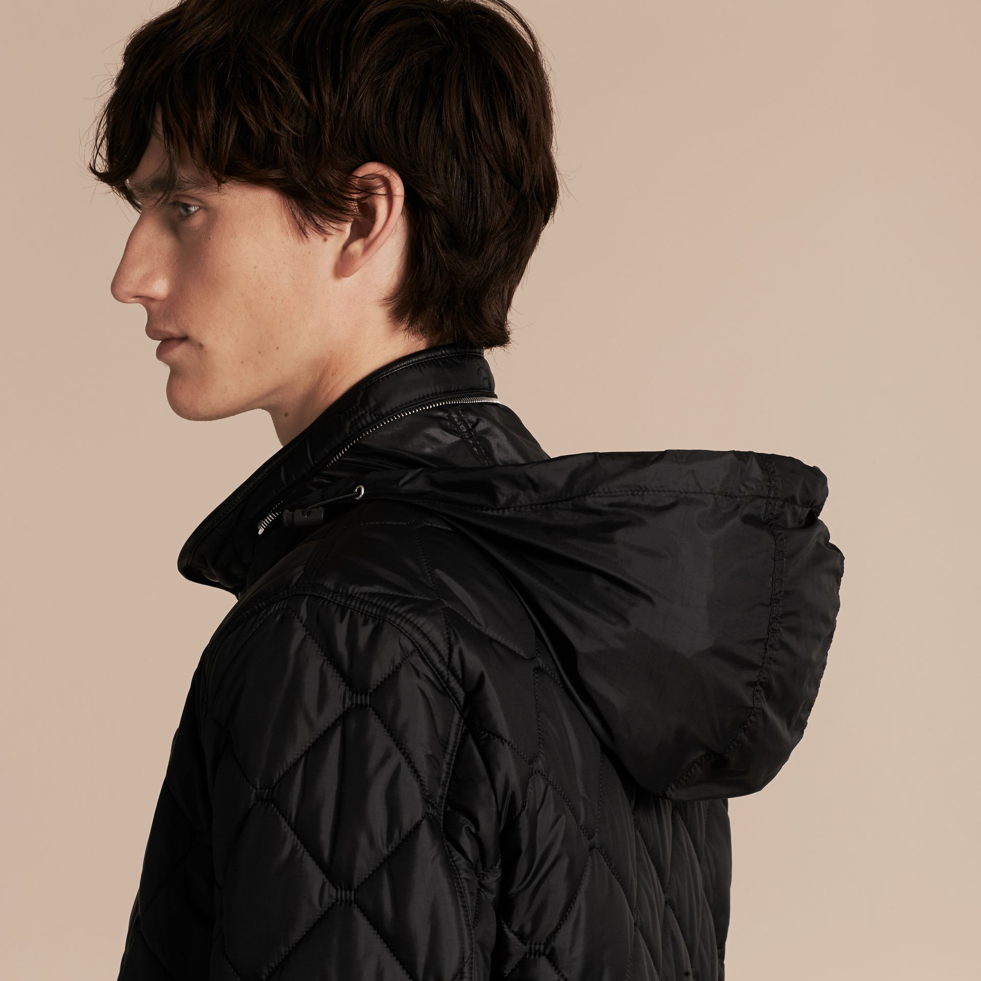 Black Quilted Packaway Hood Jacket - gallery image 6