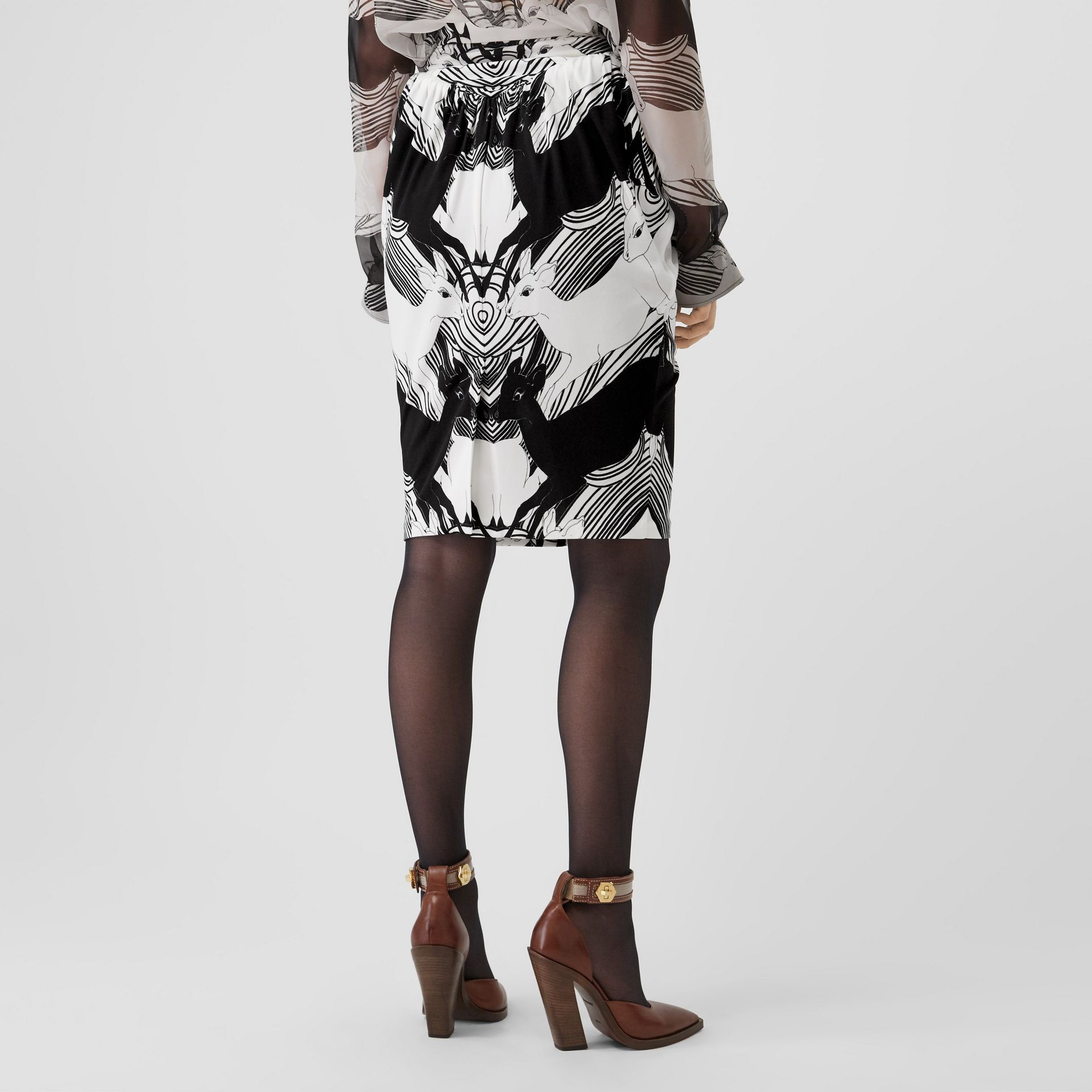 Deer Print Gathered Jersey Sculptural Skirt in Monochrome - Women | Burberry - gallery image 2