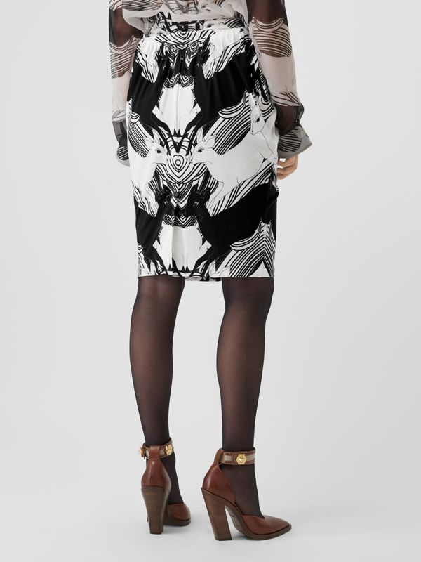 Deer Print Gathered Jersey Sculptural Skirt in Monochrome - Women | Burberry - cell image 2