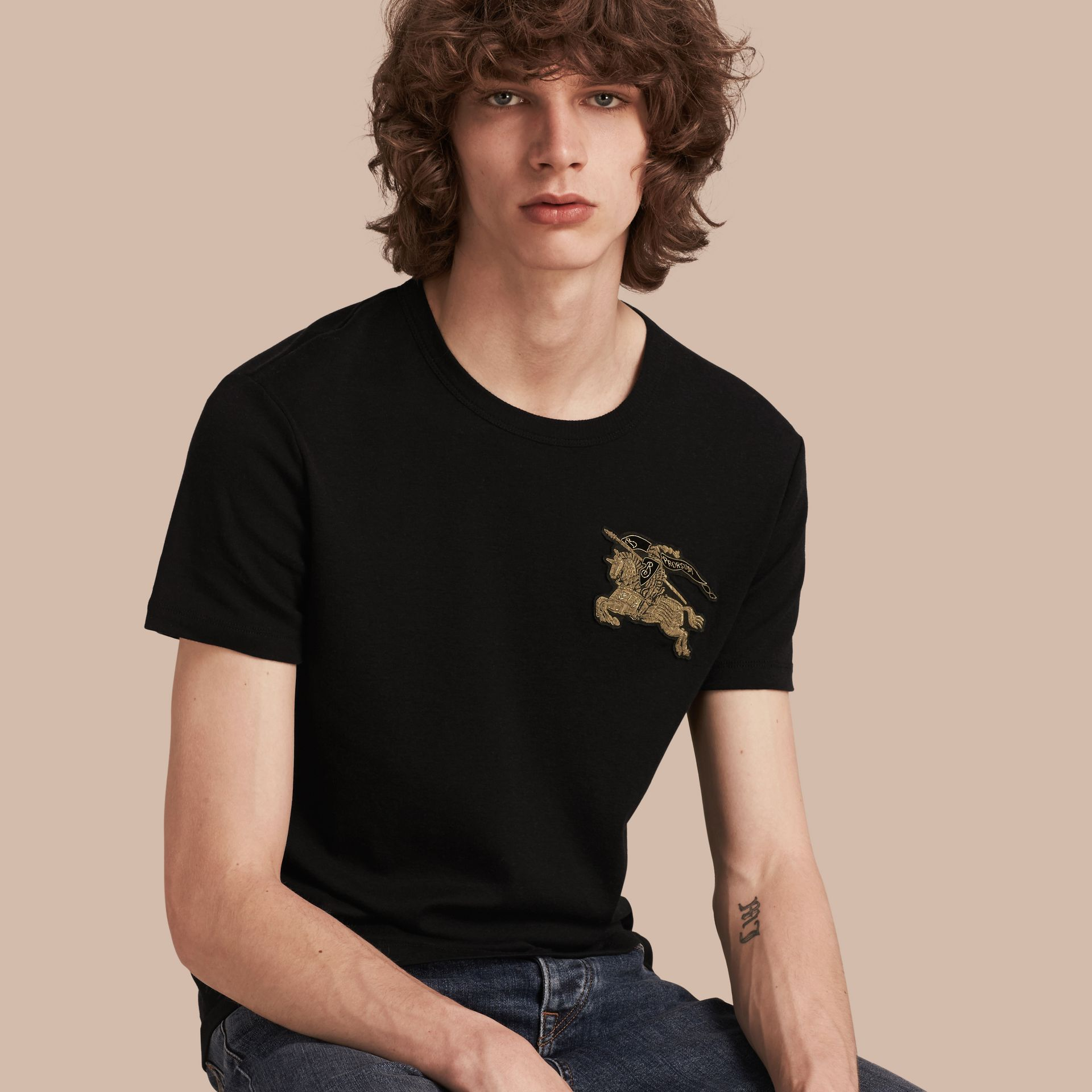 Black Cotton Wool Blend T-shirt Black - gallery image 1