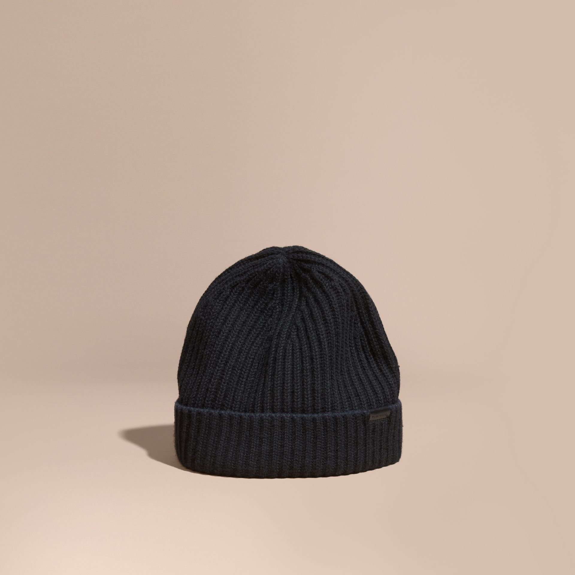Black/dark navy Ribbed Cashmere Tipped Beanie - gallery image 1