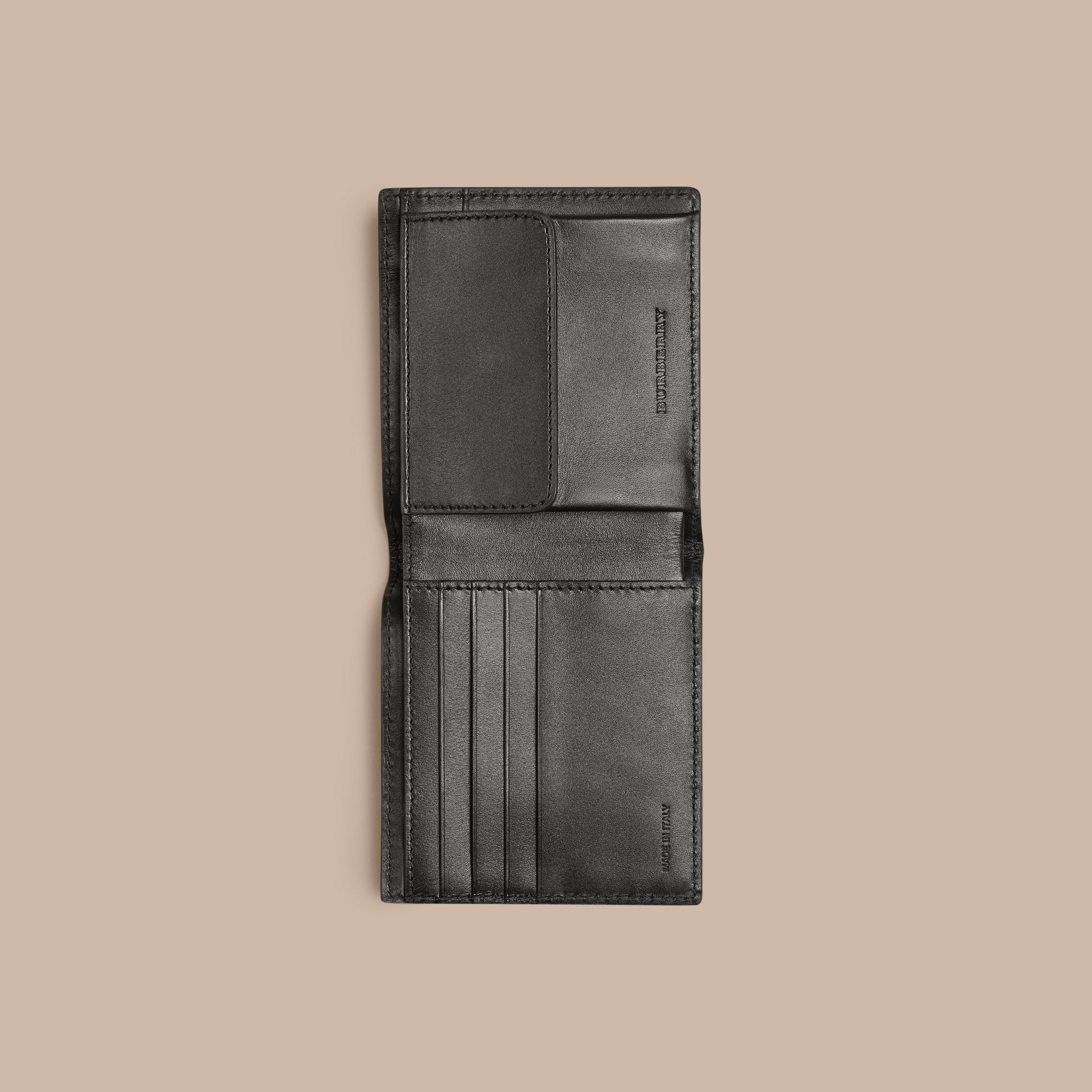 Black London Leather Folding Coin Wallet Black - gallery image 4