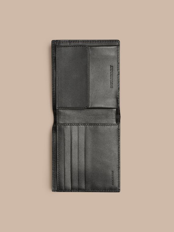 Black London Leather Folding Coin Wallet Black - cell image 3