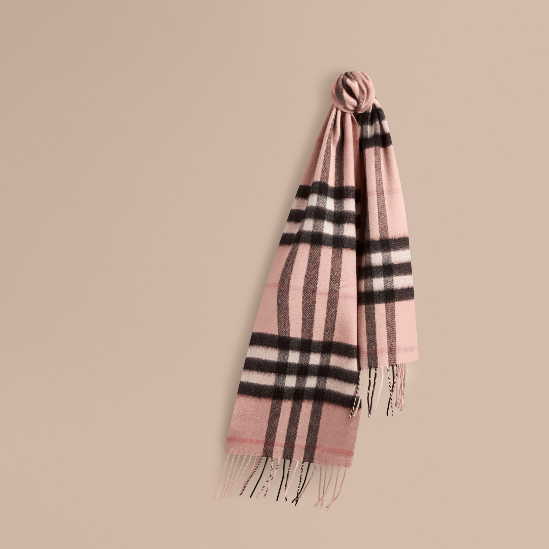 The Mini Classic Check Cashmere Scarf in Ash Rose - Girl | Burberry - gallery image 5