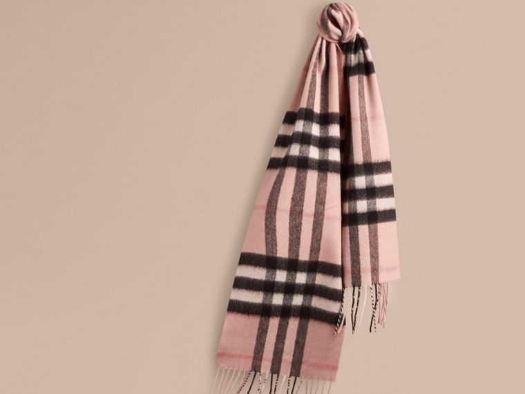 The Mini Classic Cashmere Scarf in Check Rose - cell image 4