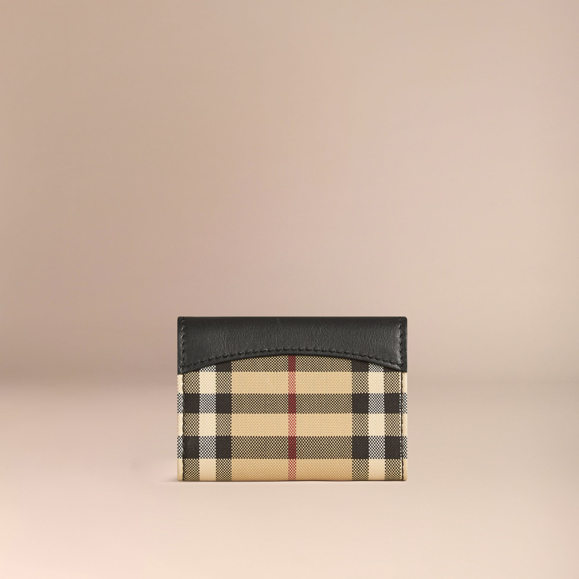 Horseferry Check and Leather Card Case in Black - gallery image 3