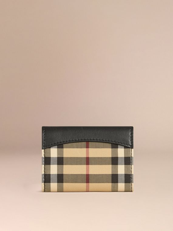 Horseferry Check and Leather Card Case Black - cell image 2