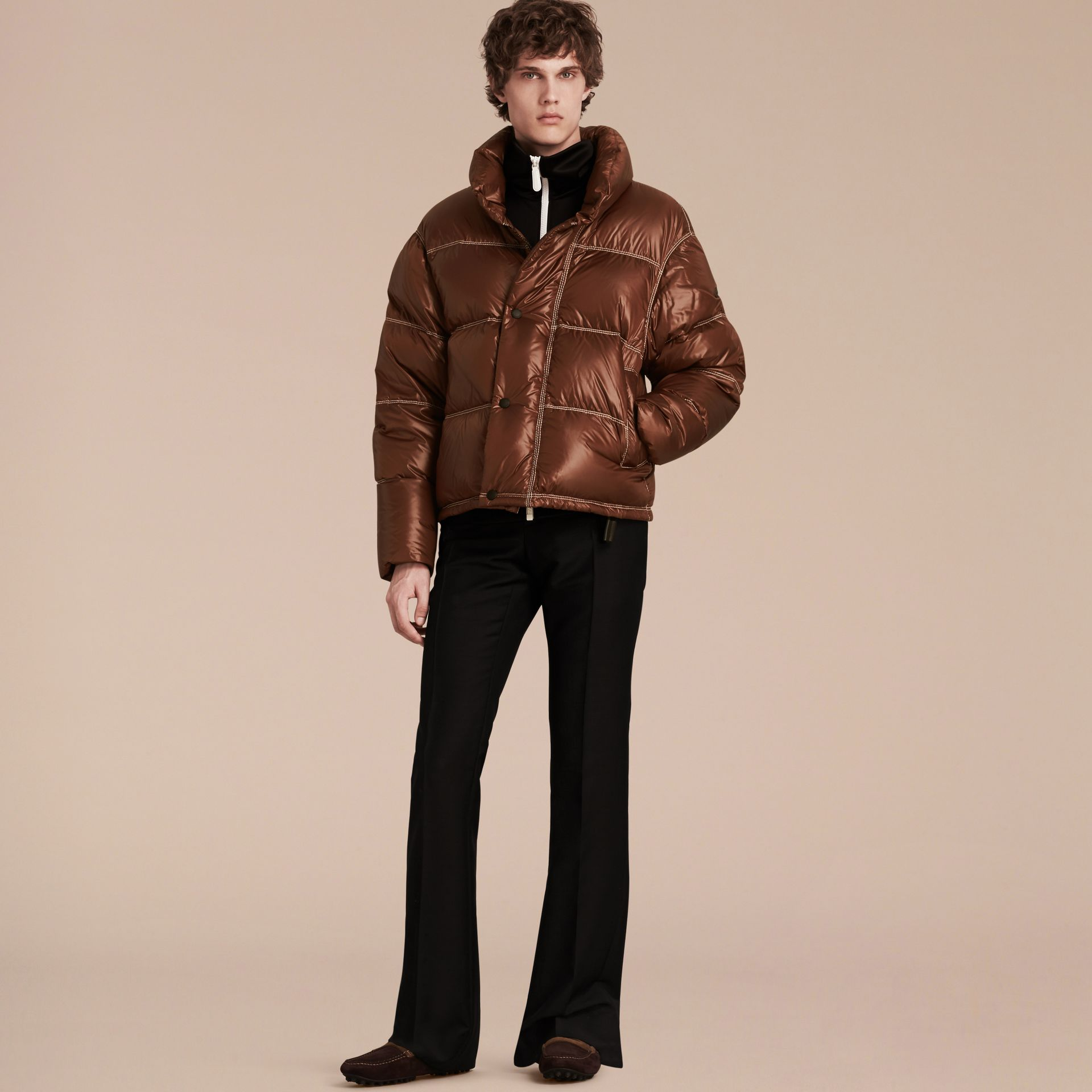 Chestnut brown Down-filled Puffer Jacket - gallery image 7