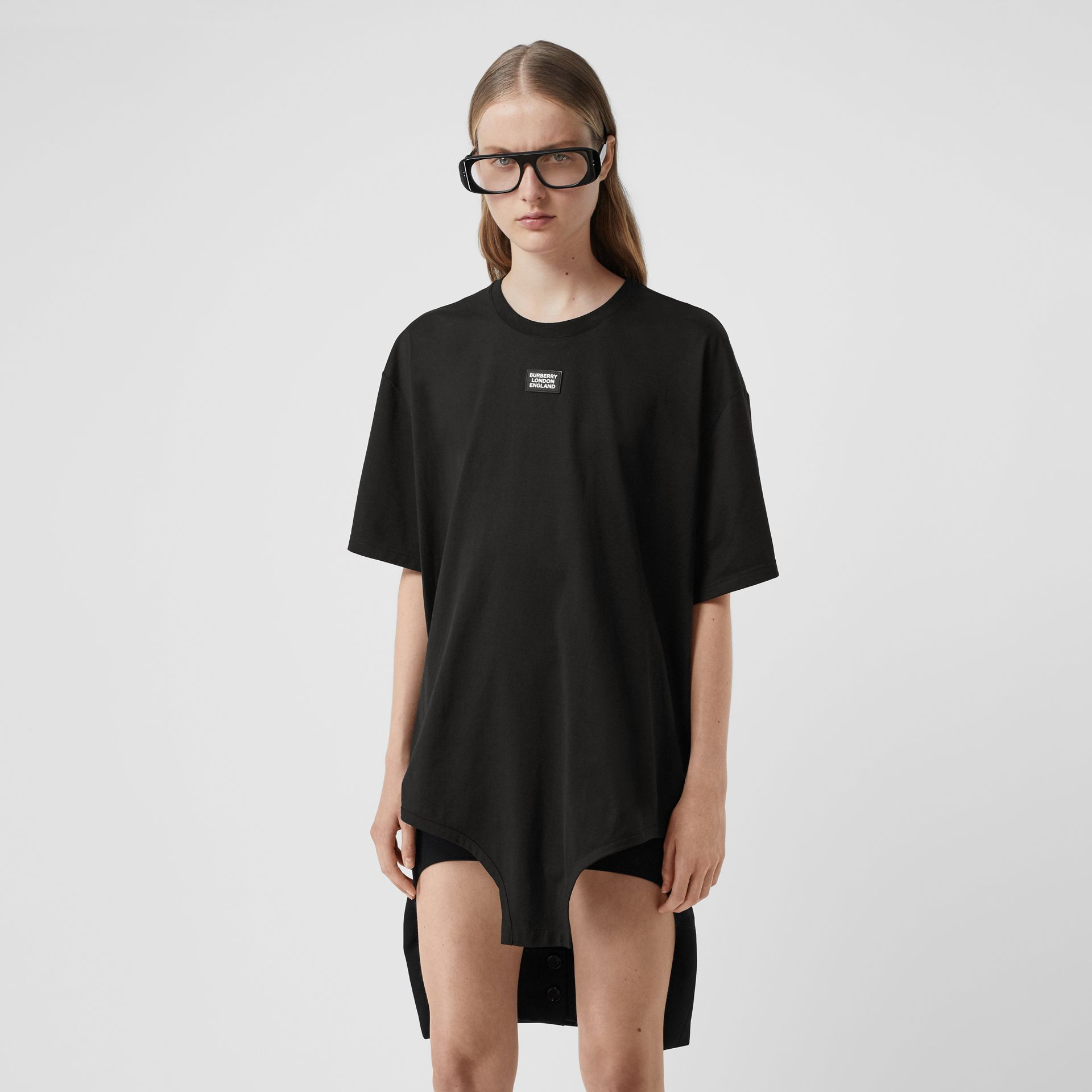 Cut-out Hem Logo Appliqué Cotton Oversized T-shirt in Black - Women | Burberry - gallery image 4