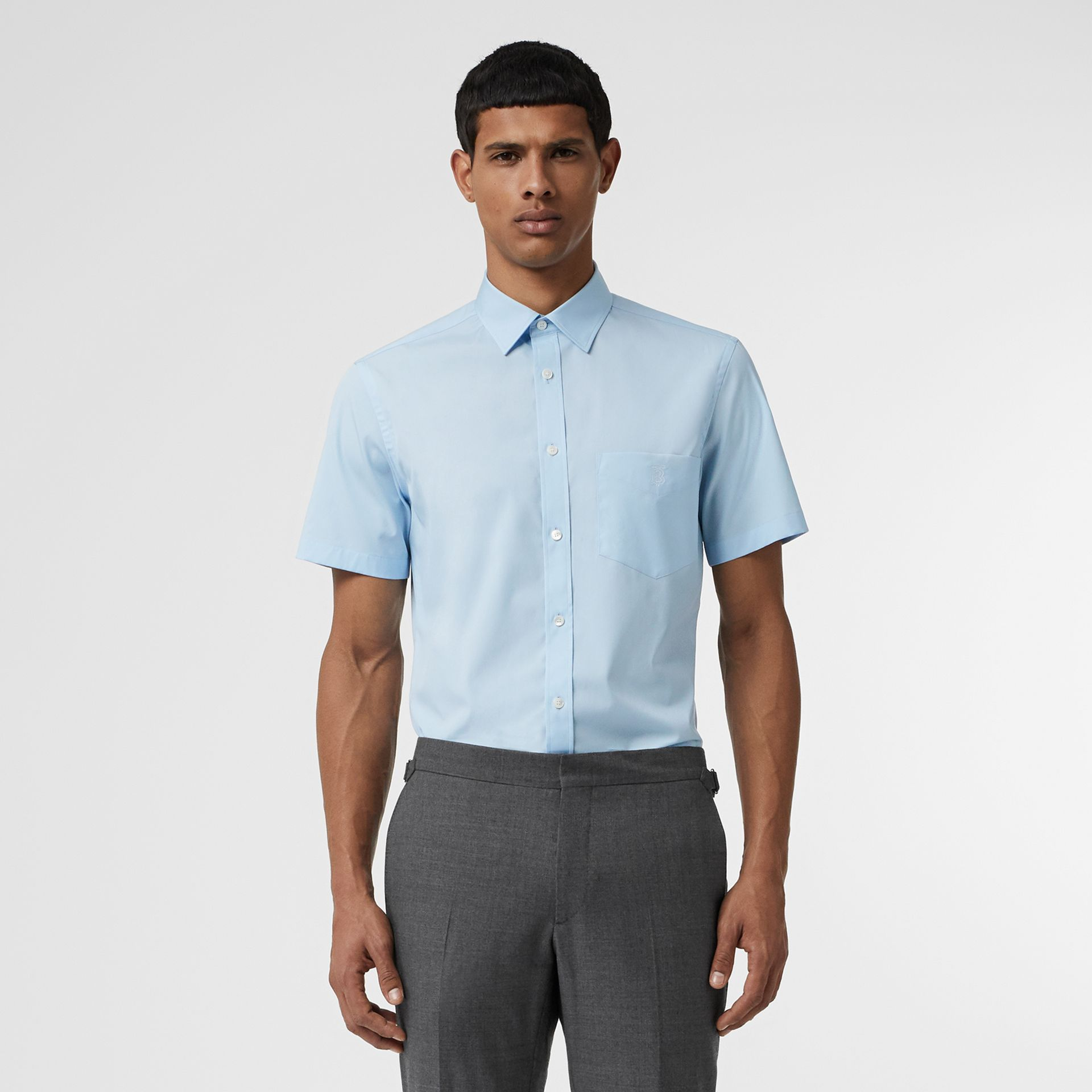Short-sleeve Monogram Motif Stretch Cotton Shirt in Pale Blue - Men | Burberry United Kingdom - gallery image 0