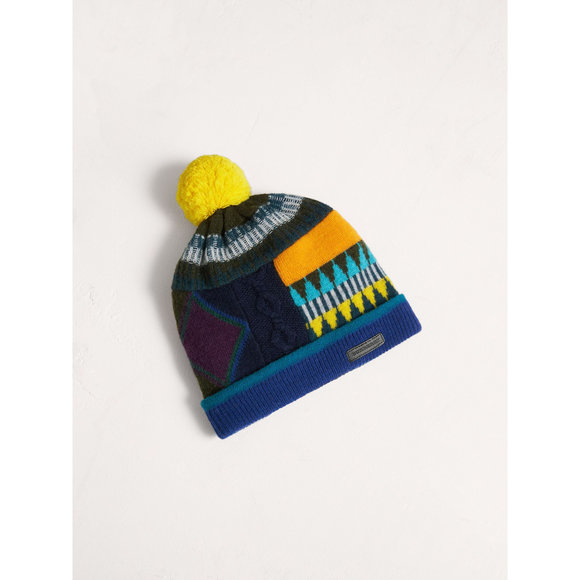 Fair Isle Wool Cashmere Pom-pom Beanie in Bright Yellow | Burberry Australia - gallery image 0