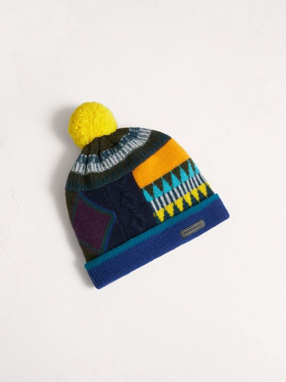 Fair Isle Wool Cashmere Pom-pom Beanie in Bright Yellow