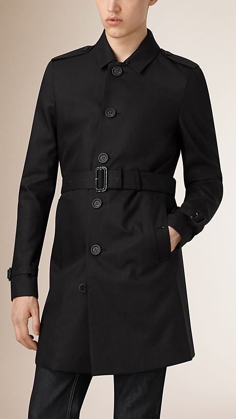 Black Cotton Gabardine Trench Coat - Image 2
