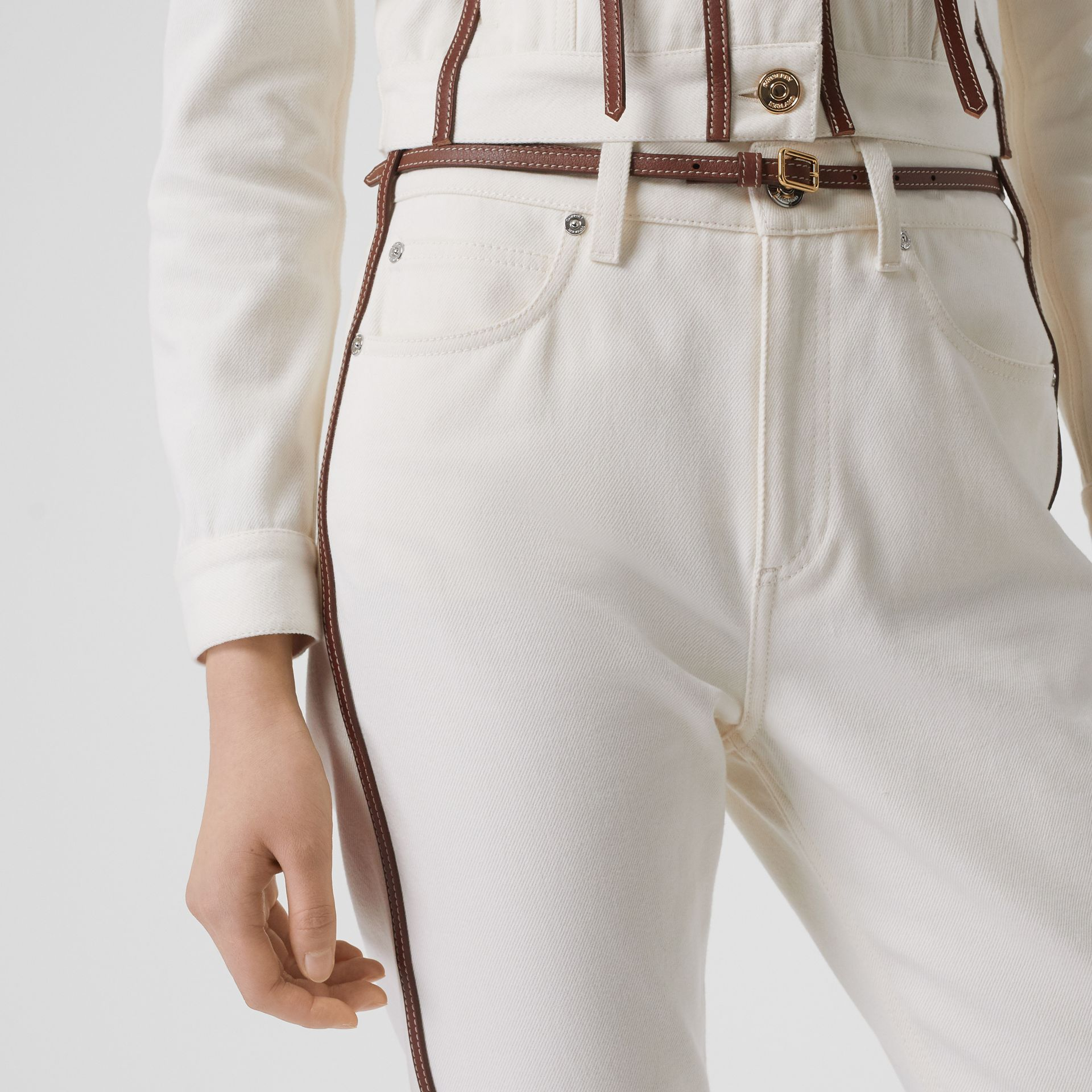 Straight Fit Leather Harness Detail Jeans in Off White - Women | Burberry - gallery image 1