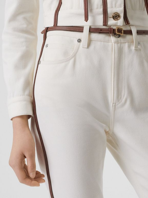 Straight Fit Leather Harness Detail Jeans in Off White - Women | Burberry Canada - cell image 1