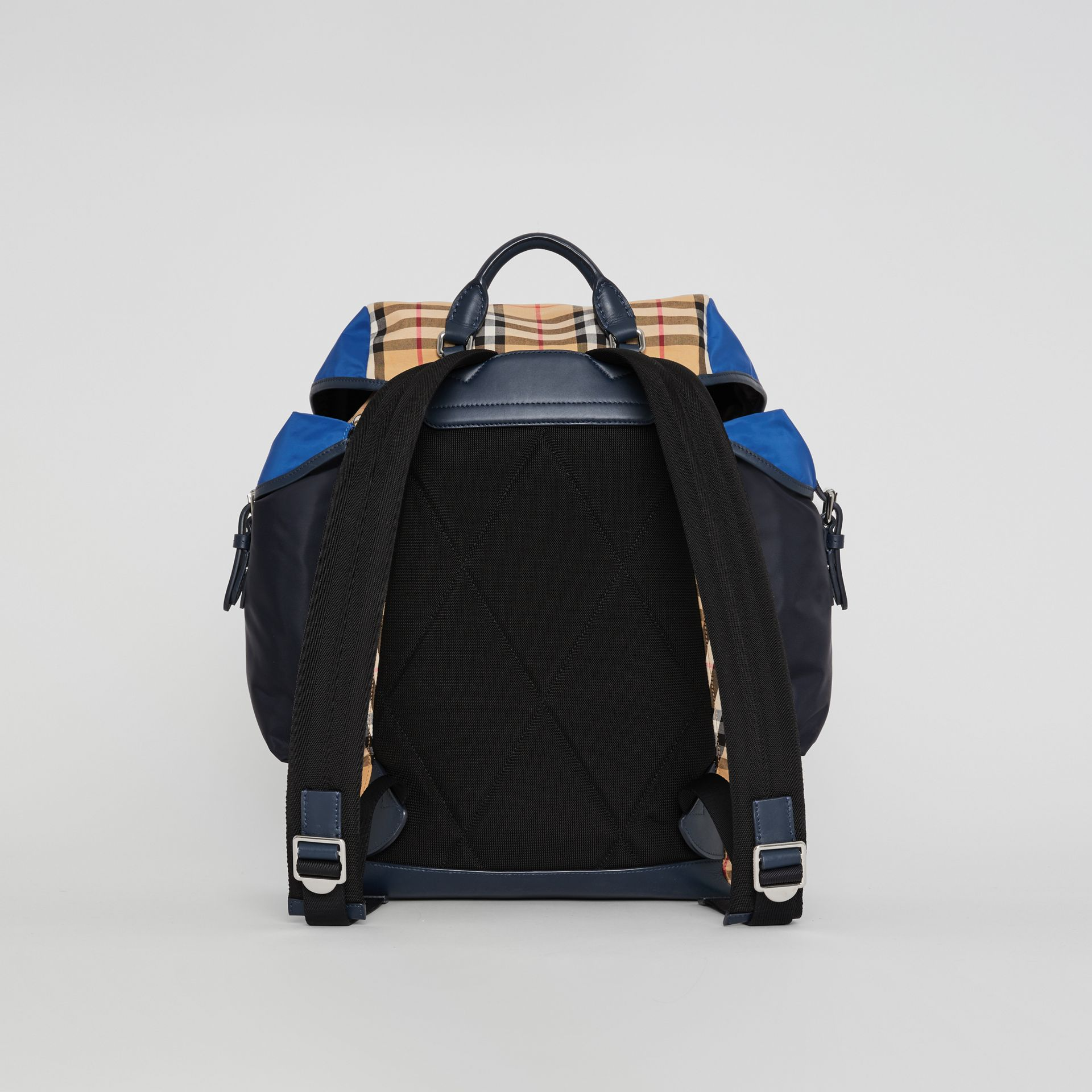 Colour Block Vintage Check and Leather Backpack in Navy - Men | Burberry - gallery image 7