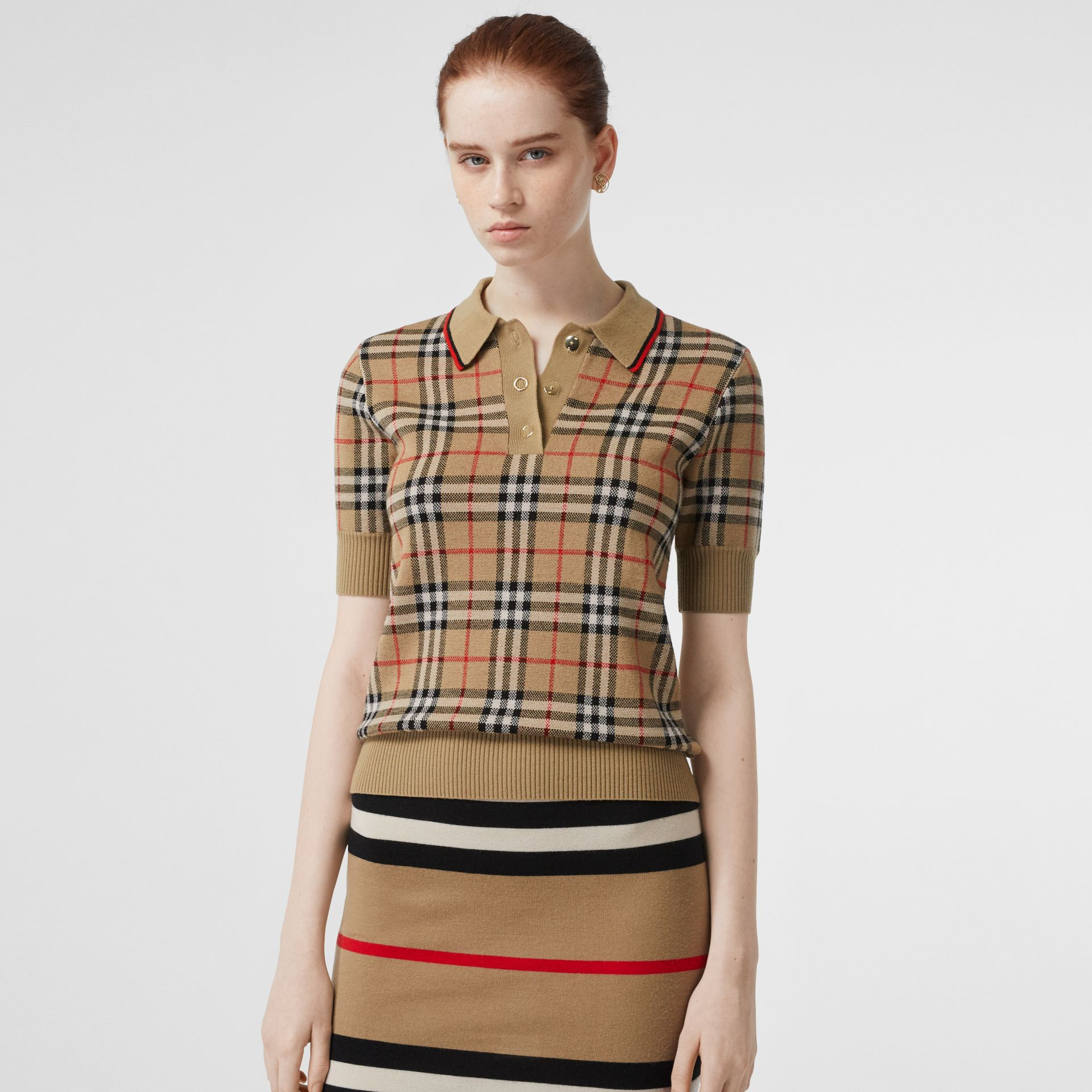 Vintage Check Merino Wool Polo Shirt in Archive Beige - Women | Burberry Canada - gallery image 0