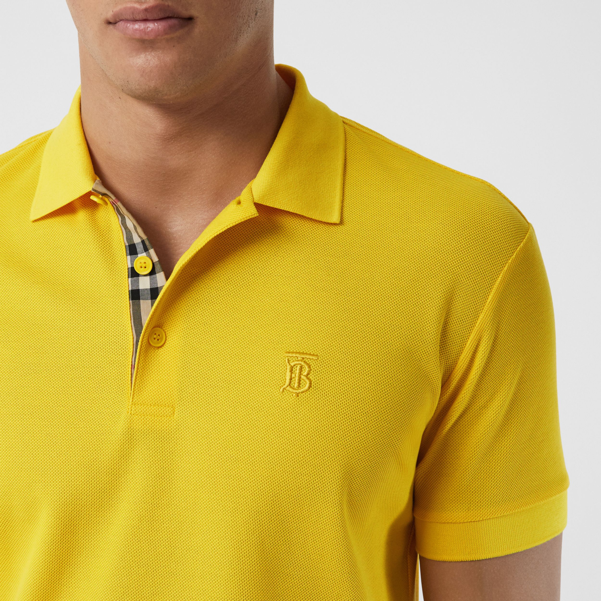 Monogram Motif Cotton Piqué Polo Shirt in Canary Yellow - Men | Burberry - 2