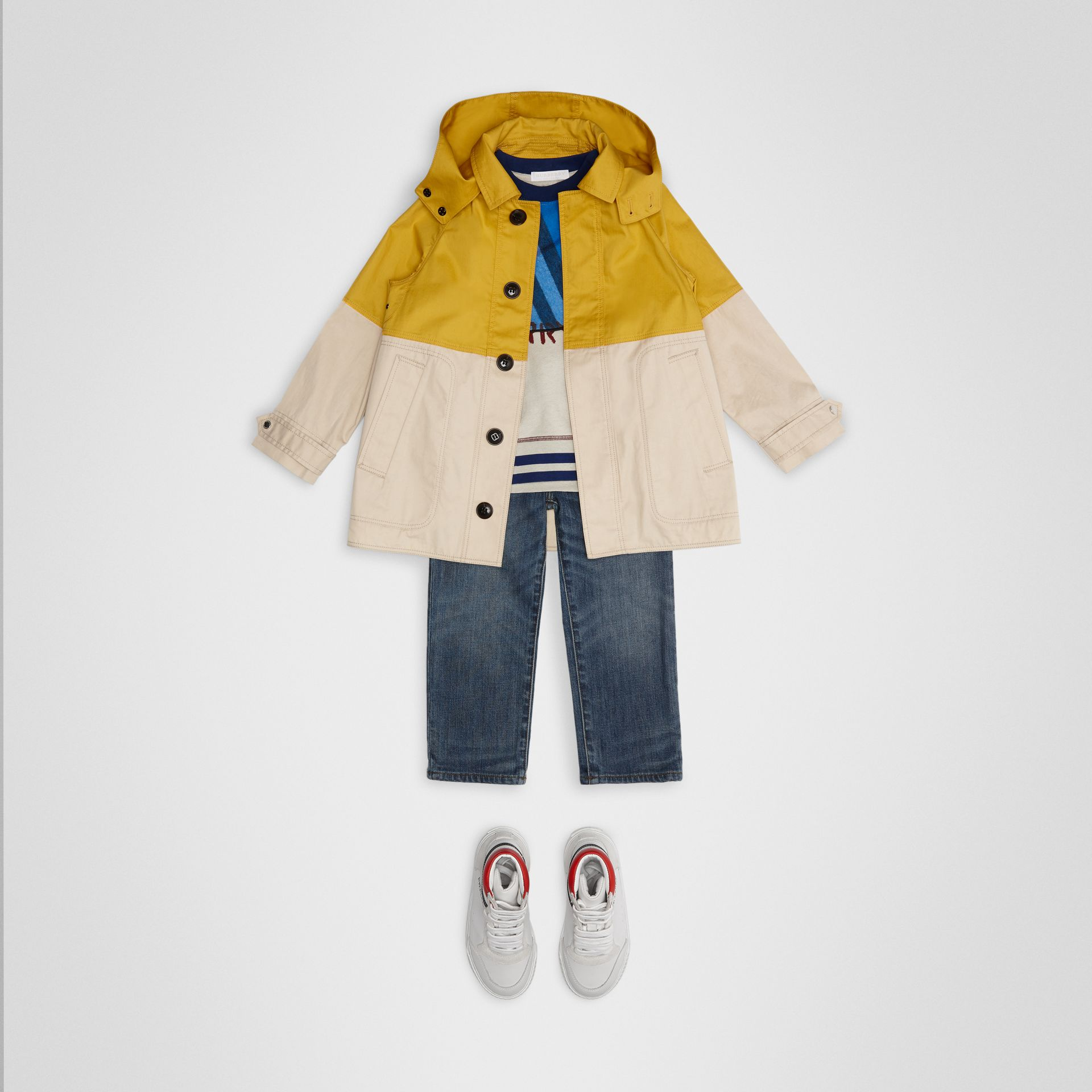 Detachable Hood Colour Block Cotton Car Coat in Gorse Yellow | Burberry - gallery image 2