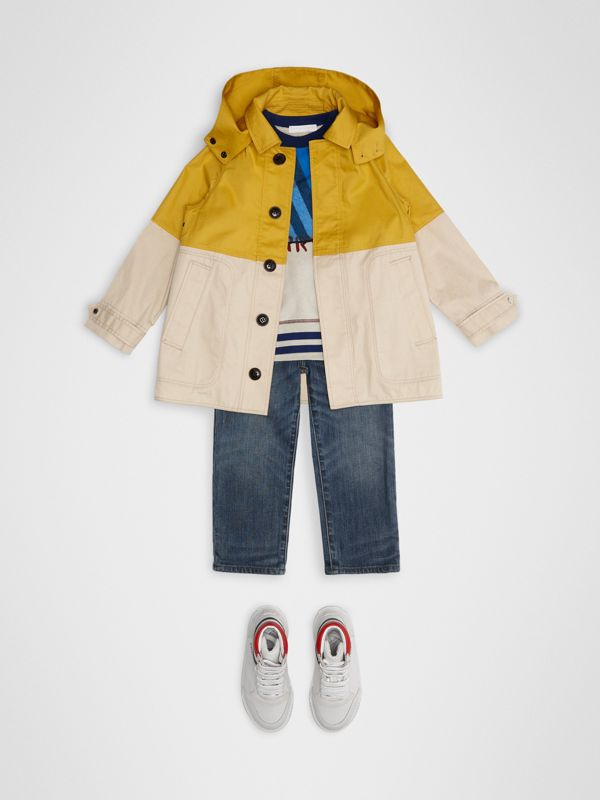 Detachable Hood Colour Block Cotton Car Coat in Gorse Yellow | Burberry - cell image 2