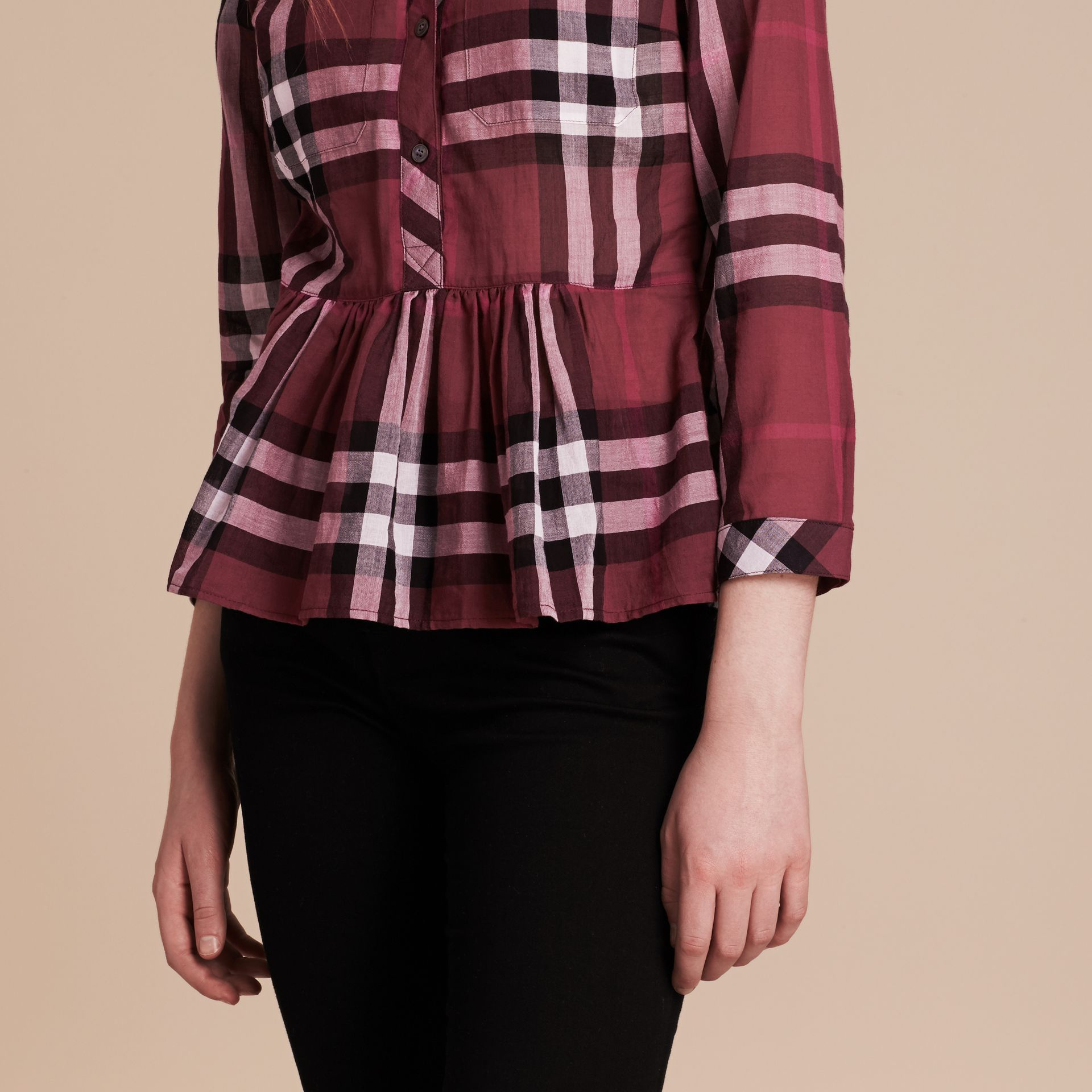 Magenta Check Cotton Peplum Shirt Magenta - gallery image 5