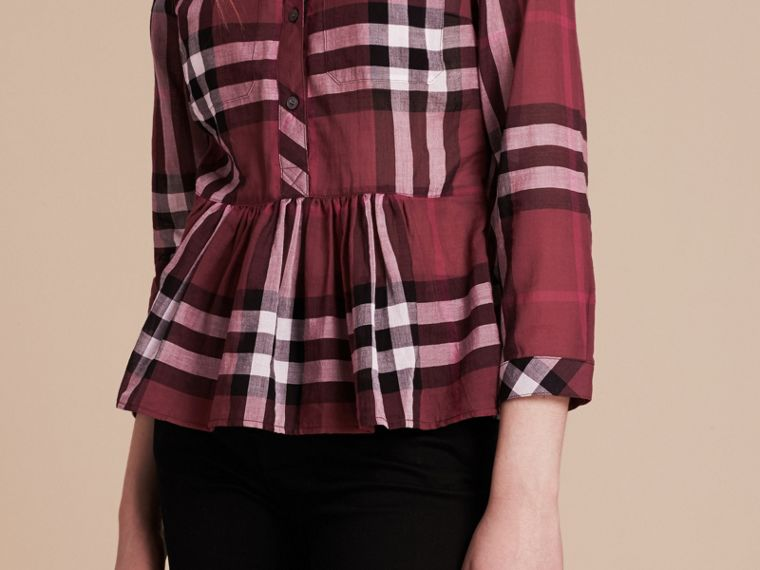 Magenta Check Cotton Peplum Shirt Magenta - cell image 4
