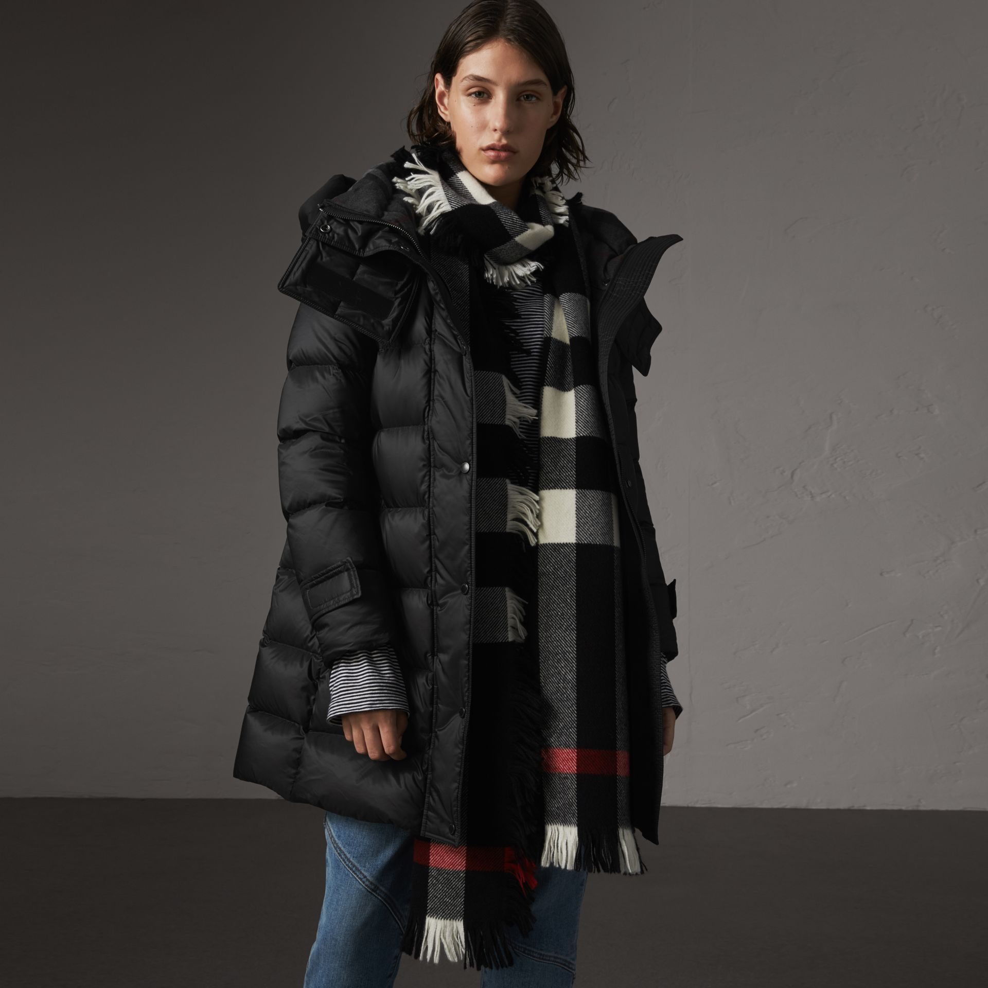 Detachable Hooded Down-filled Puffer Coat in Black - Women | Burberry - gallery image 0