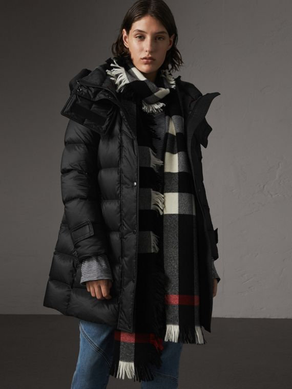 Detachable Hooded Down-filled Puffer Coat in Black