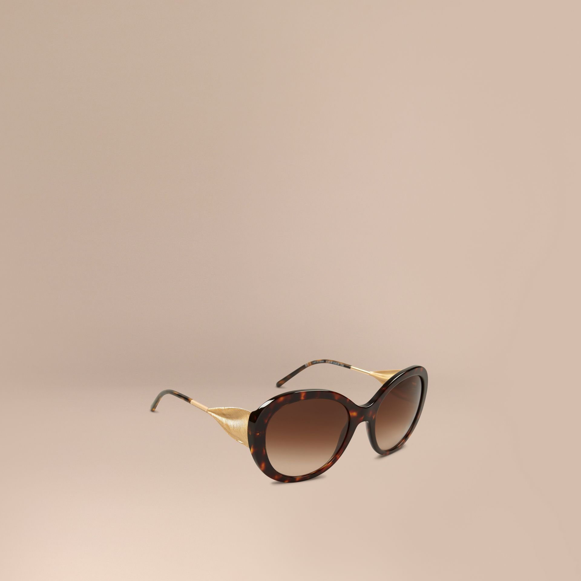 Gabardine Collection Oversize Round Frame Sunglasses in Ebony - Women | Burberry - gallery image 1