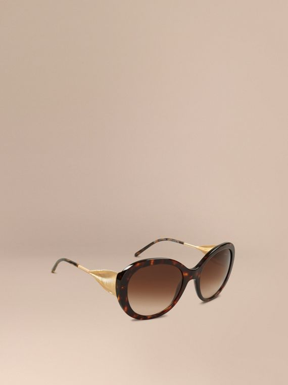 Gabardine Collection Oversize Round Frame Sunglasses in Ebony - Women | Burberry Australia