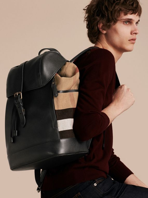Black Leather and Canvas Check Backpack - cell image 2