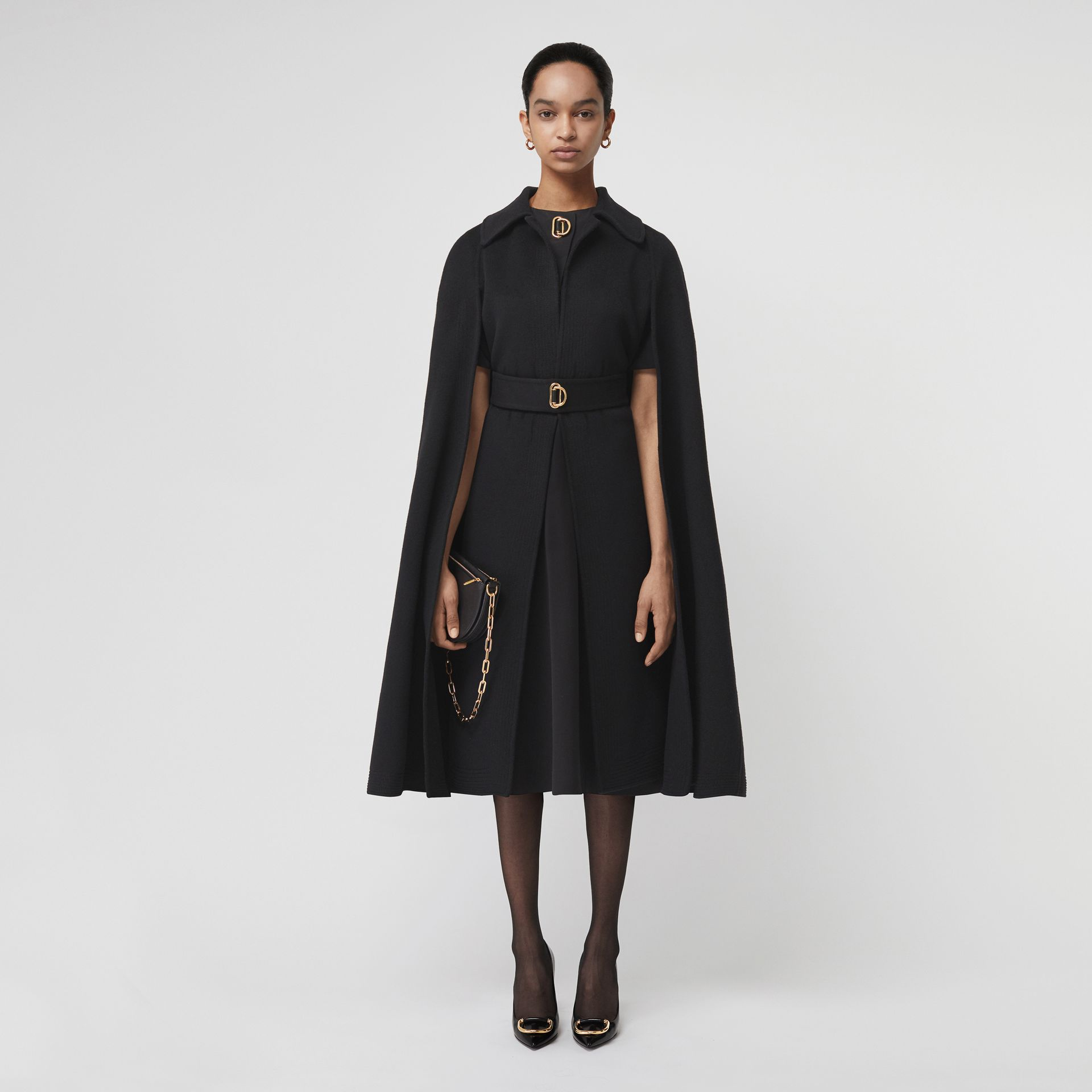 Short-sleeve D-ring Detail Silk Wool Dress in Black - Women | Burberry - gallery image 5