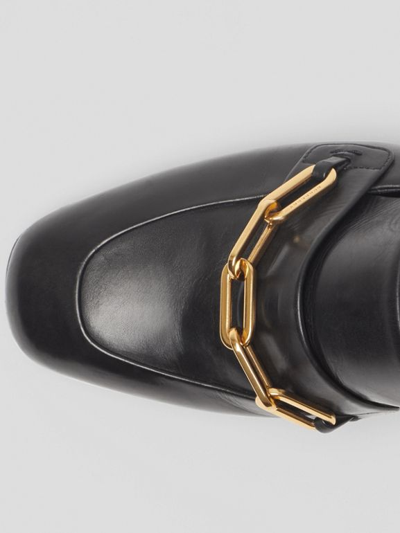 Link Detail Leather Block-heel Mules in Black - Women | Burberry Canada - cell image 1