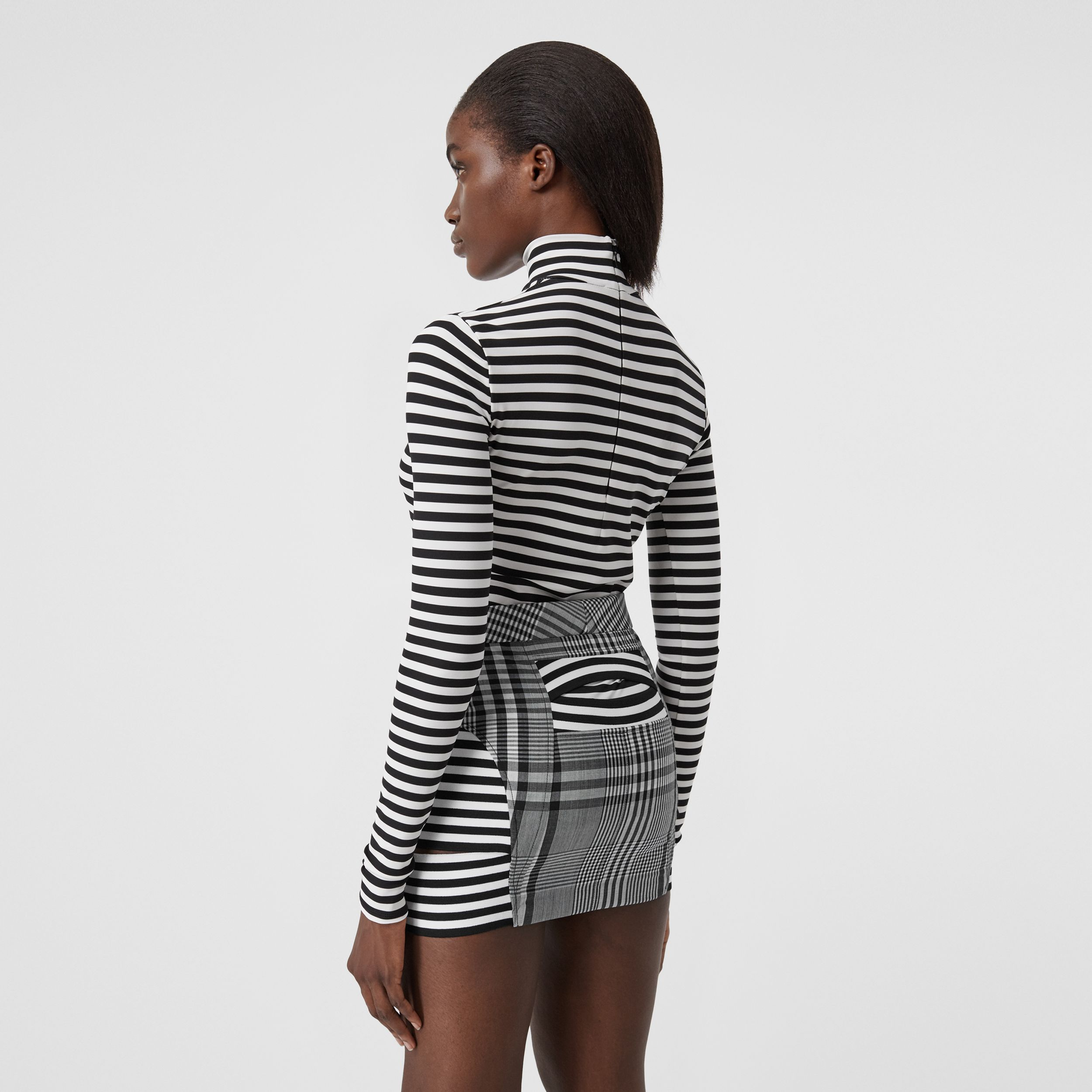 Stripe and Check Technical Wool Mini Skirt in Black - Women | Burberry - 3